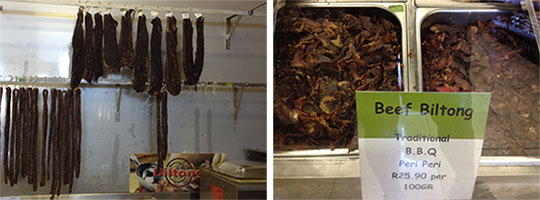 Beef biltong/jerky hanging to dry        Chopped beef biltong/jerky