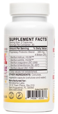megasporebiotic supplement facts